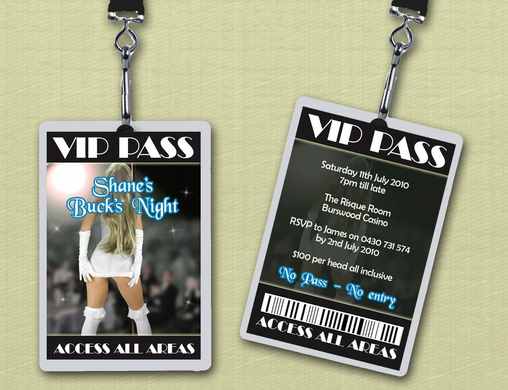 Personalised Bucks Party VIP Lanyard Invitations | Weddings ...