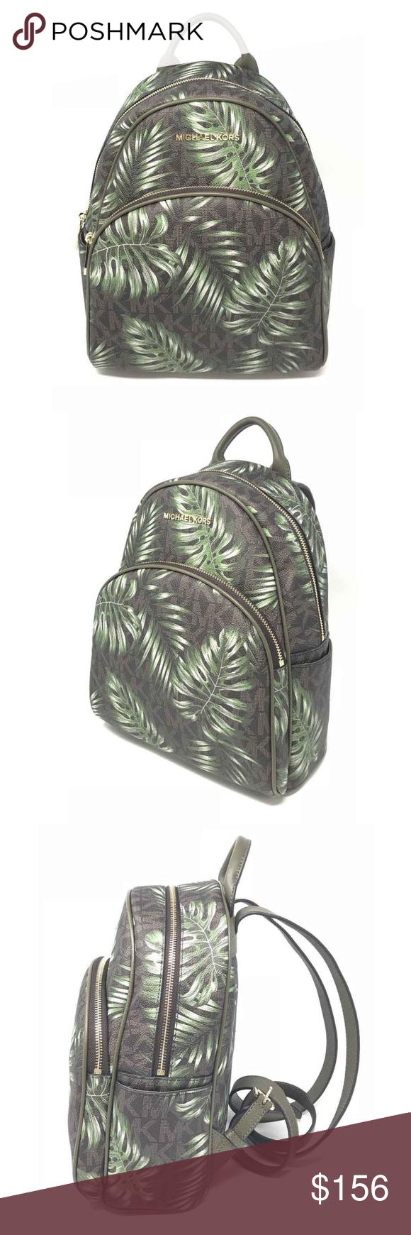 ee524444b017 Michael Kors Abbey Medium Backpack Olive Palm Tree Michael Kors Abbey  Medium Backpack Brown MK Printed