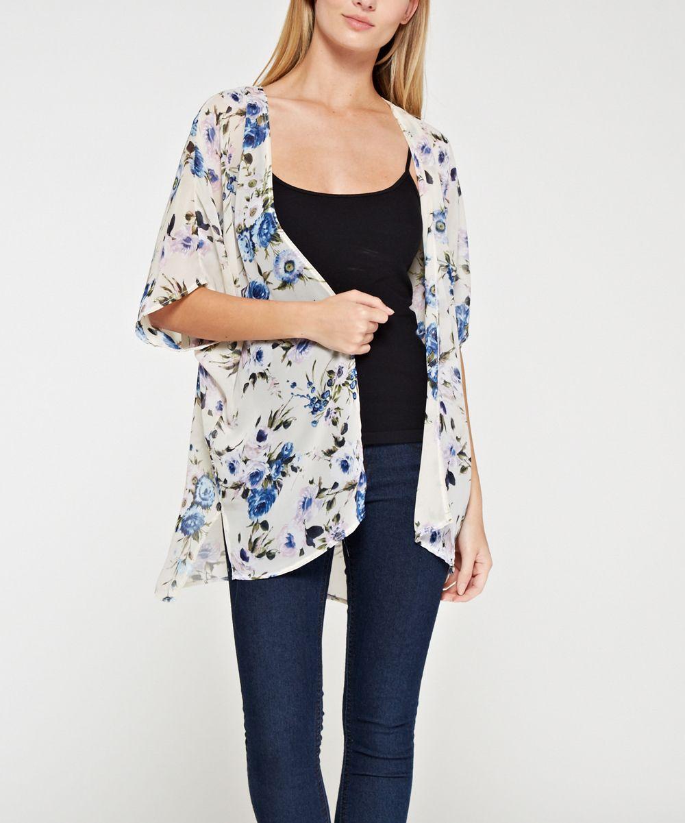 Blue Floral Kimono - Plus | Blue, Floral kimono and Kimonos