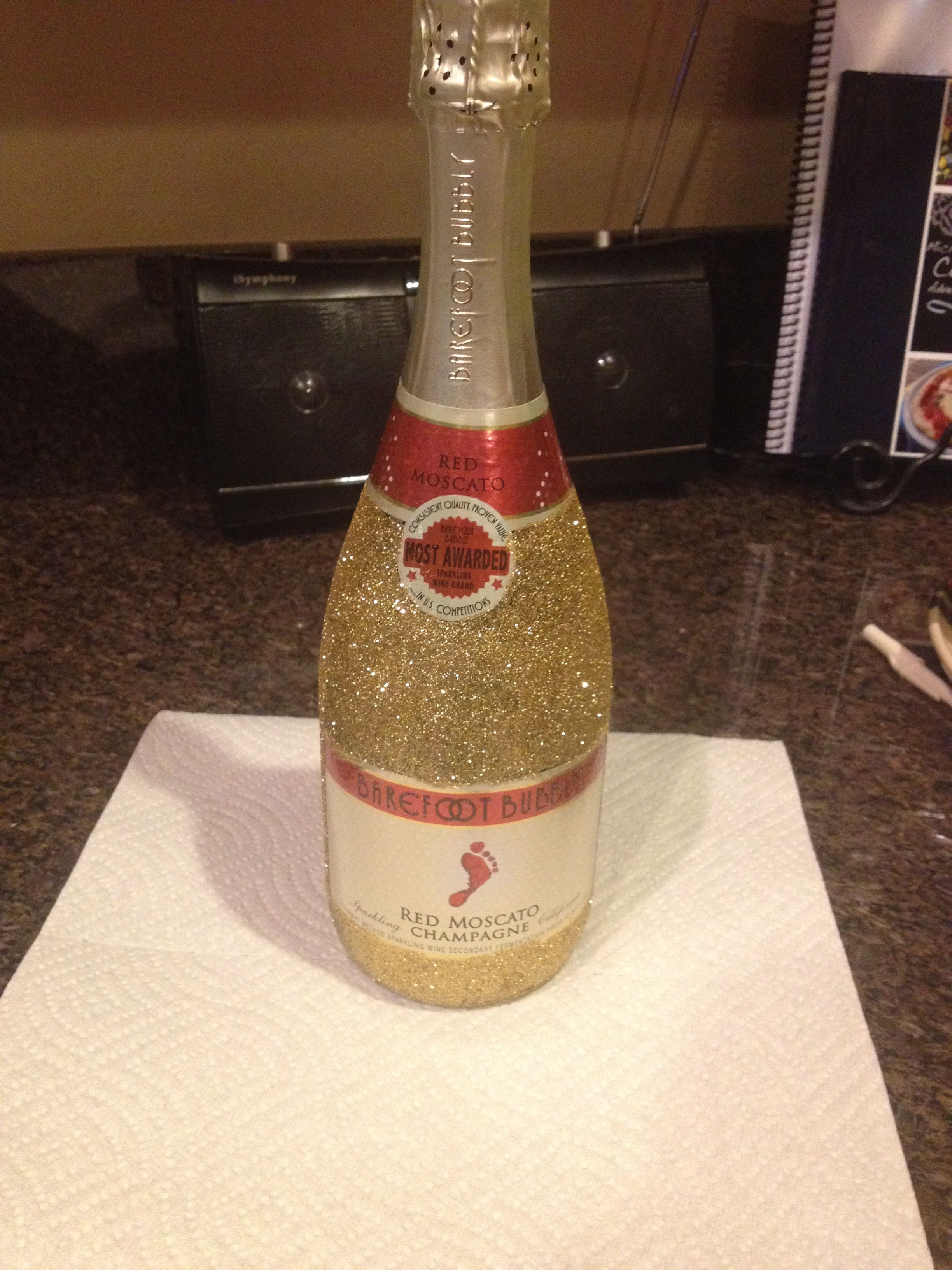 diy gift glitter wine bottle diy pinterest bottle