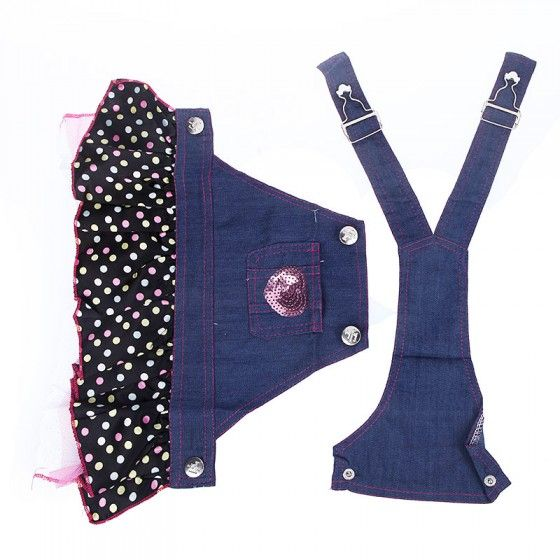 Buy Fashion Pet Dog Clothes Jean Skirt Dress Lovely Lace Heart Apparel Costume for Wholesale - Free Shipping