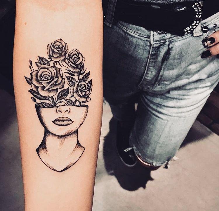 Half Face And Half Flowers Tattoo Tattoos Collar Bone Tattoo Tattoos For Women