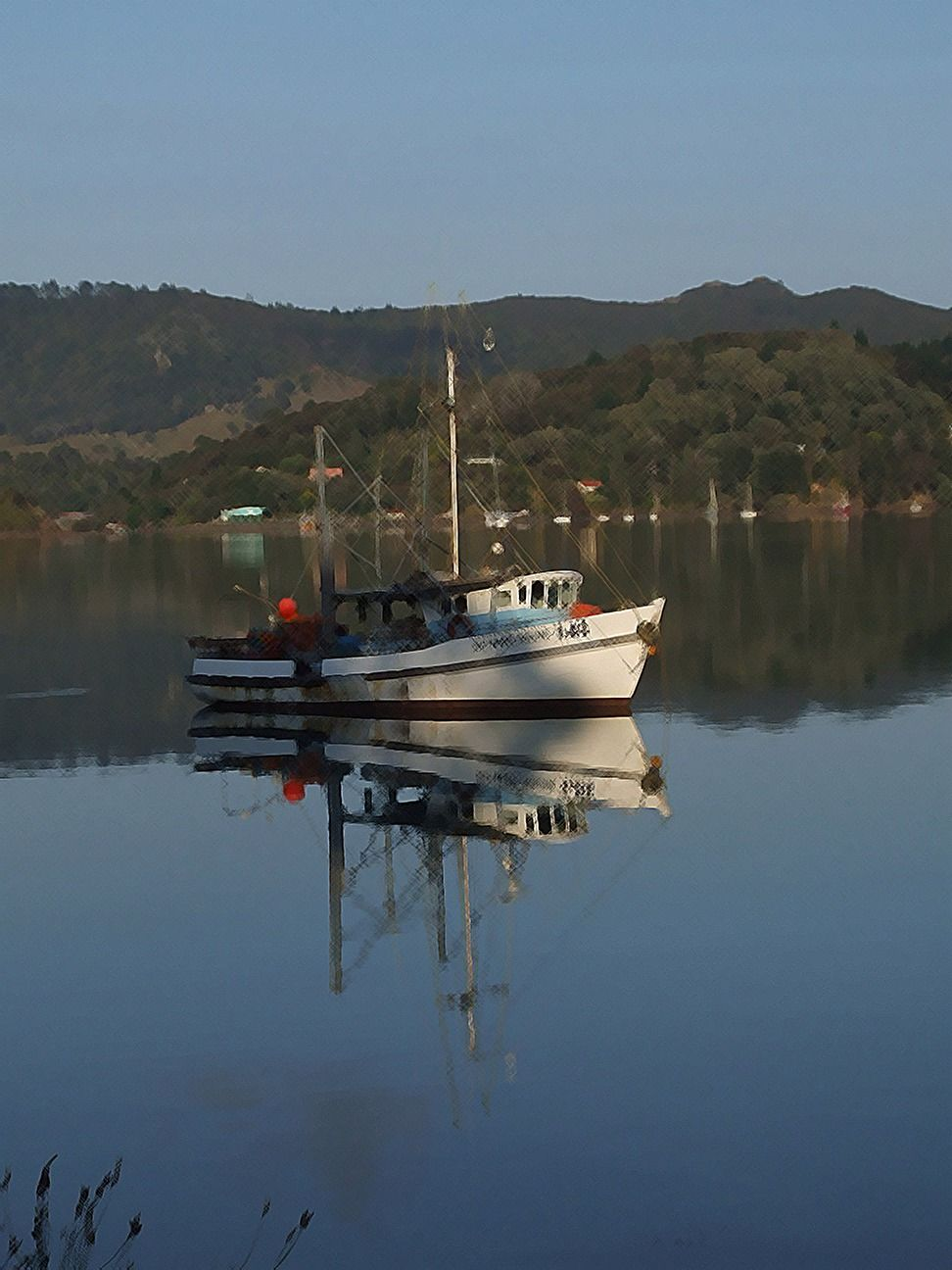 Reflected fishing boat Whangaroa NZ graphy