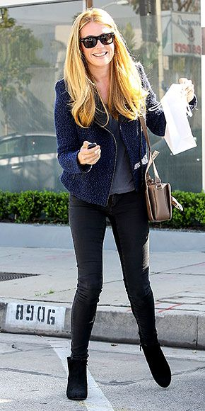 Meet the Celeb Style Council! Cat Deeley - Textured Gerard Darel jacket. Mulberry bag. Black skinnies and booties.