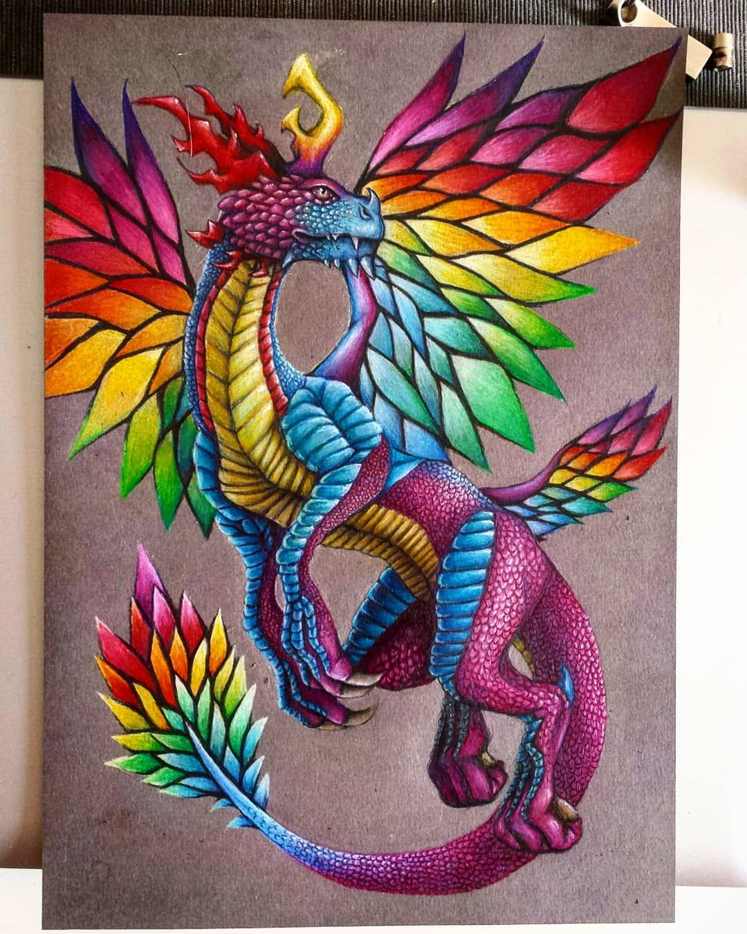 My Rainbow Dragon Dragon Artwork Cute Dragon Drawing Prismacolor Art
