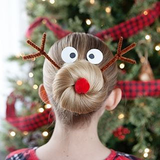 Silly Reindeer Christmas Hairdo Christmas Hair Christmas Tree Hair Reindeer Hair Bun