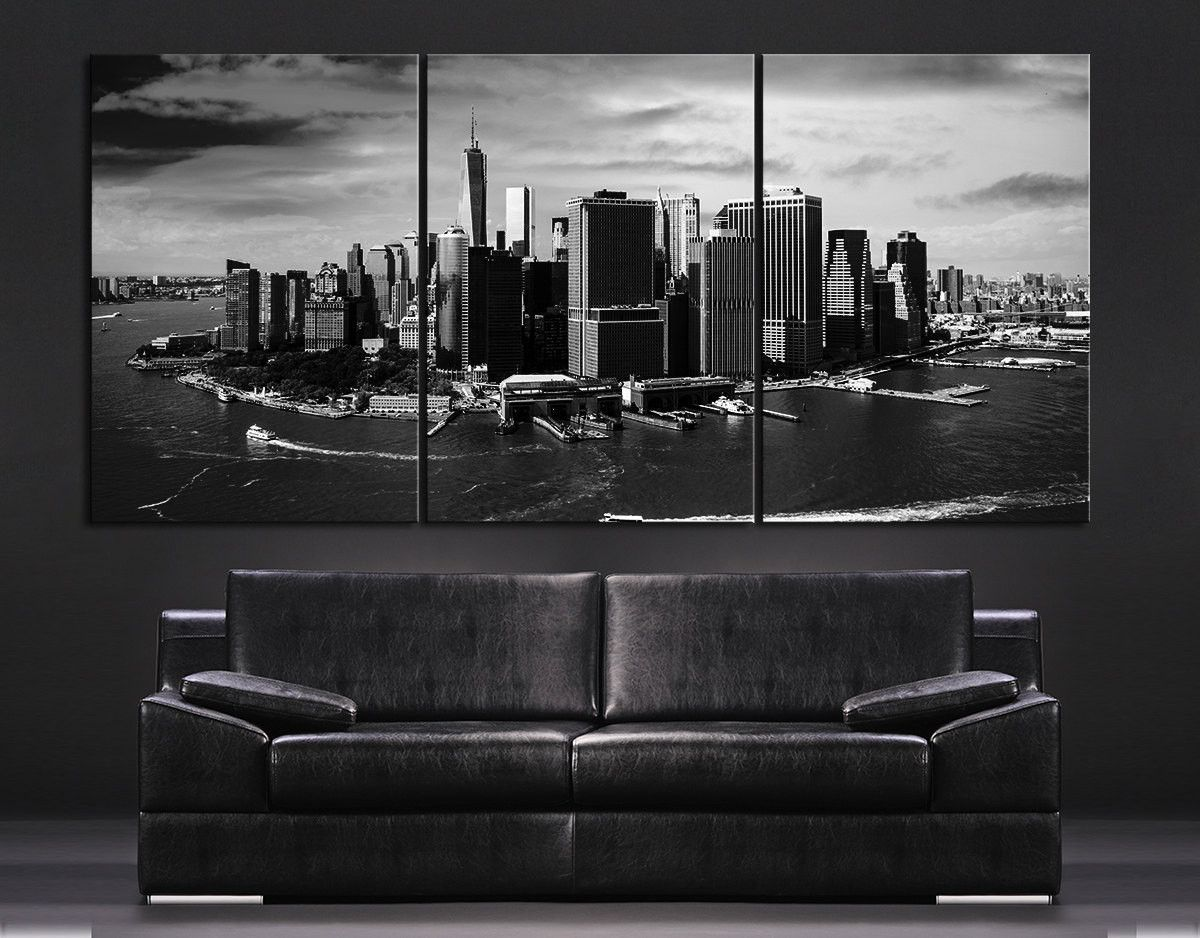 LARGE Wall Art Large Canvas Art Print Skyline New York Manhattan + Aerial  View Of New Part 74