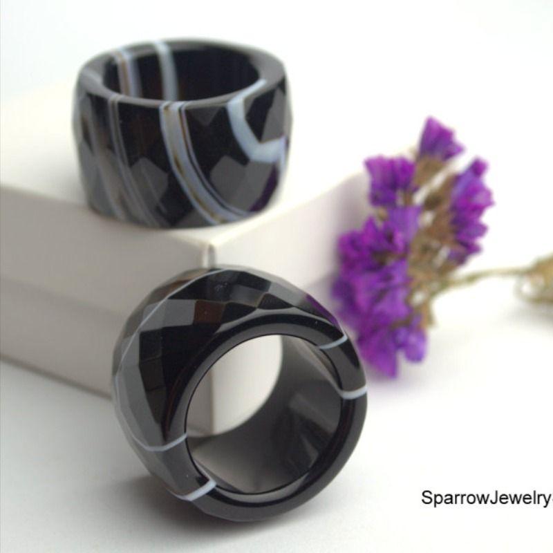 Natural Gemstone ring Purple agate band Ring Unisex band Rings Stone bands Agate stone band ring Stacking Rings Genuine women/'s rings