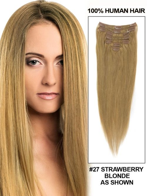14 7 Piece Silky Straight Clip In Human Hair Extension Strawberry