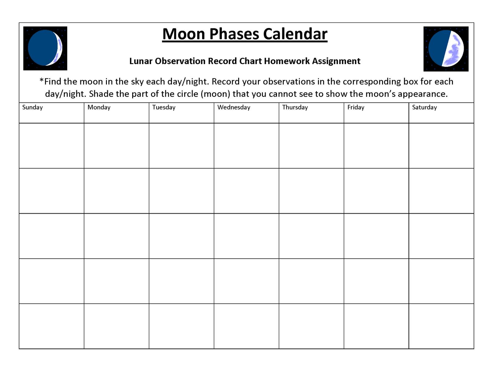 Moon Phases Blank Calendar School Pinterest Blank Calendar Moon Phases And School