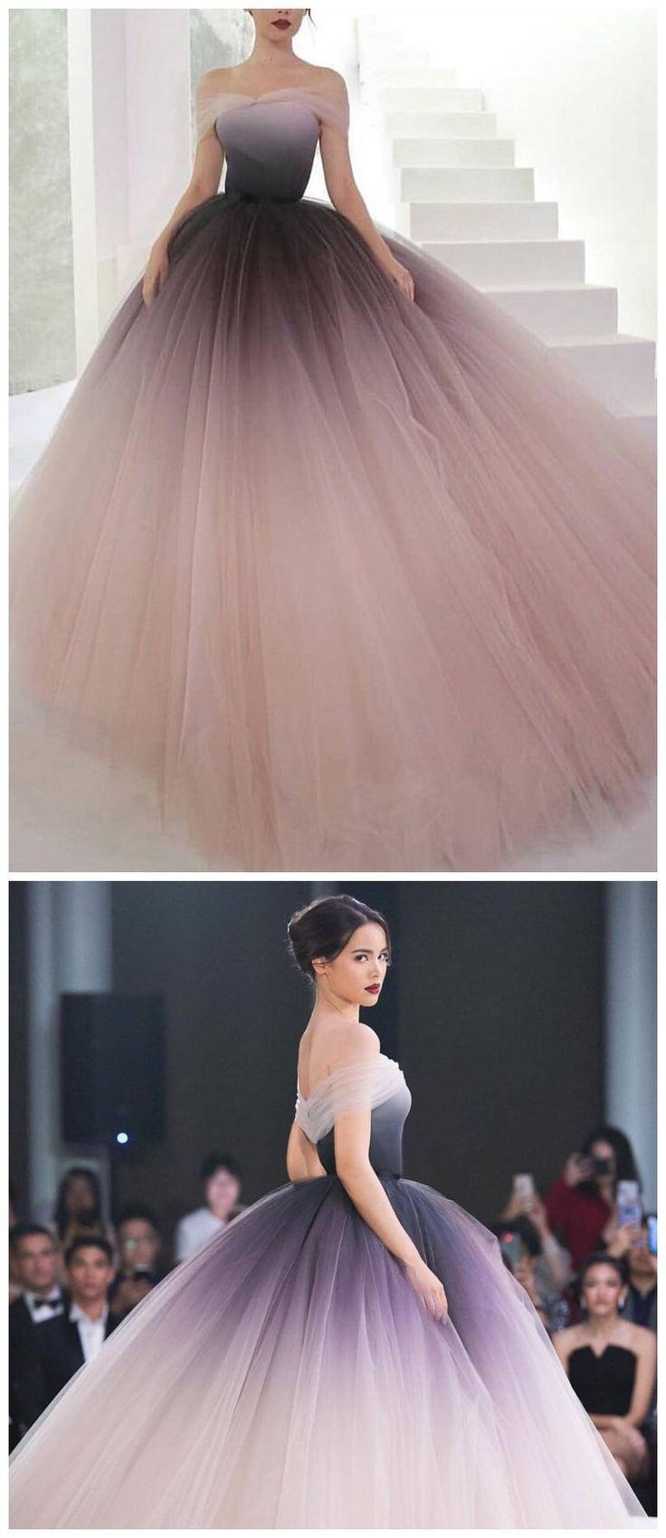 Schulterfrei Ombre Prom Dresses Einzigartige Ballkleid
