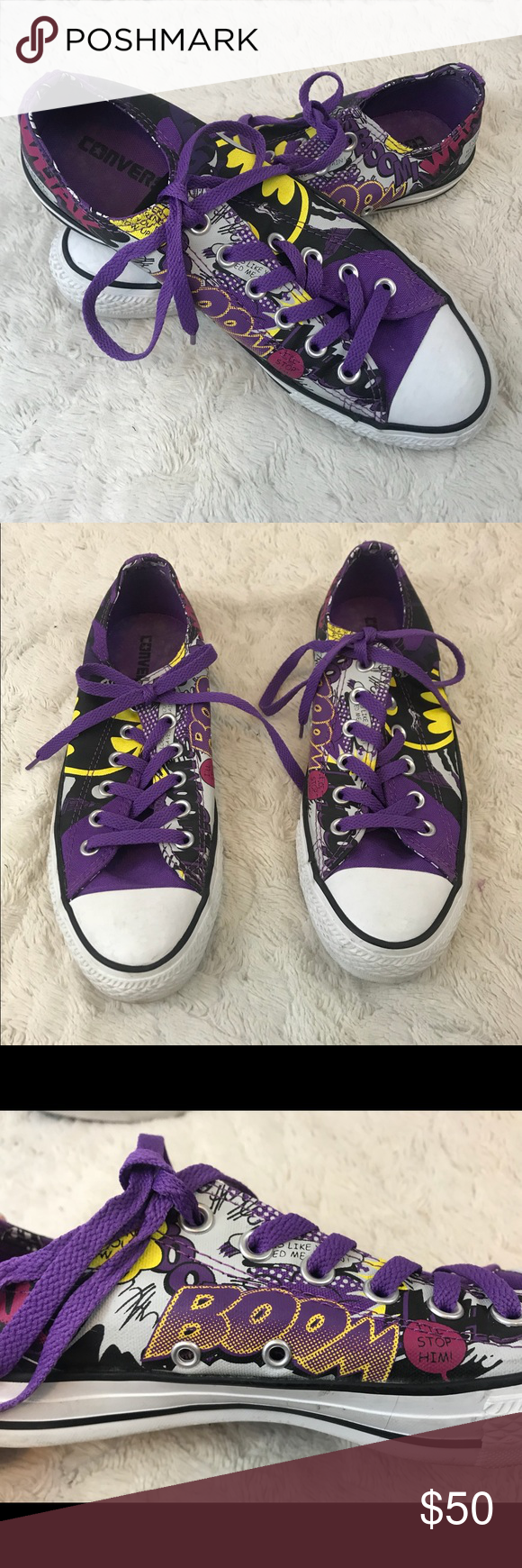 806228aa6510 Rare Batman Catwoman Purple Converse