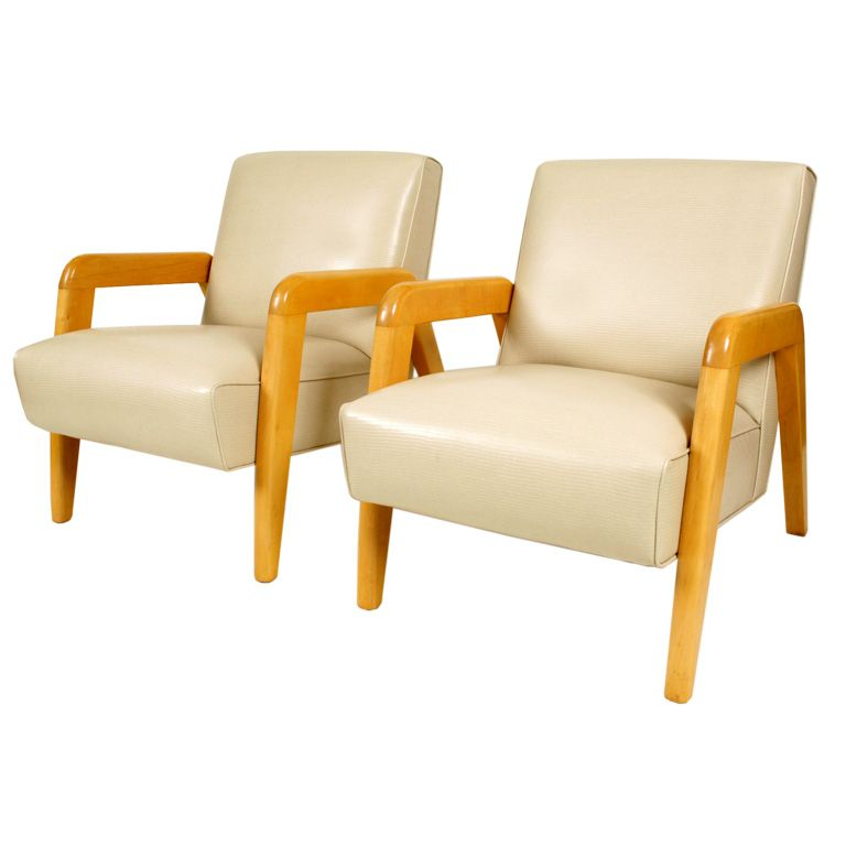 Birch and Faux Lizard Lounge Chairs