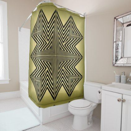 Art Deco Black And Gold Diamond Pattern Shower Curtain Elegant