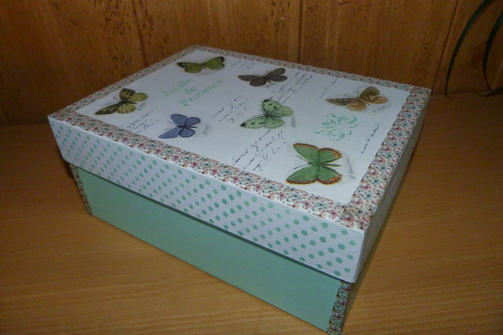 Caja De Cartón Decorada Con Decoupage Estarcido Y Washi