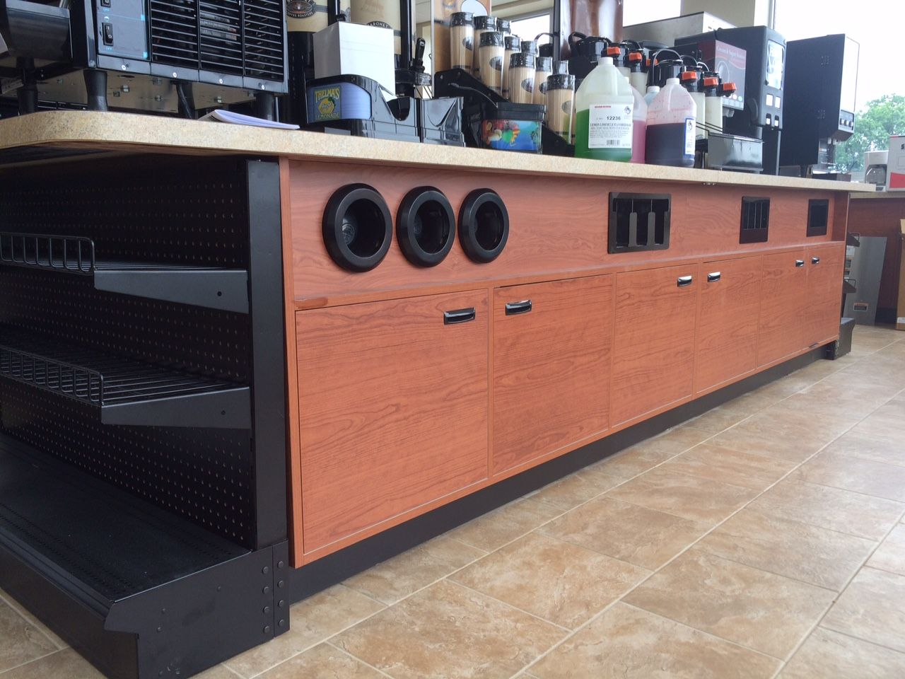 Custom coffee station from handy store fixtures coffee