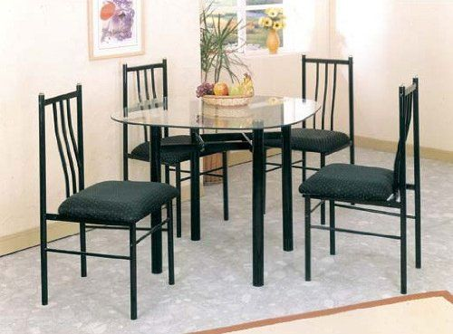 5pc Metal Dining Table Chairs Set Black Finish See This Great