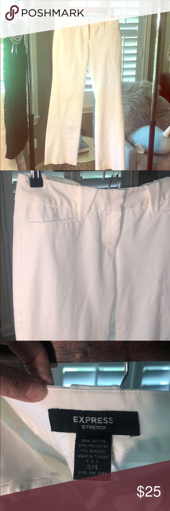 Express white slacks size 3/4 Express white slacks size 3/4 in preloved good condition. One small spot noted on the inside of the waistband (pictured). Not noticeable when being worn.   All items come from a smoke free and pet friendly home Express Pants #whiteslacks Express white slacks size 3/4 Express white slacks size 3/4 in preloved good condition. One small spot noted on the inside of the waistband (pictured). Not noticeable when being worn.   All items come from a smoke free and pet frien #whiteslacks