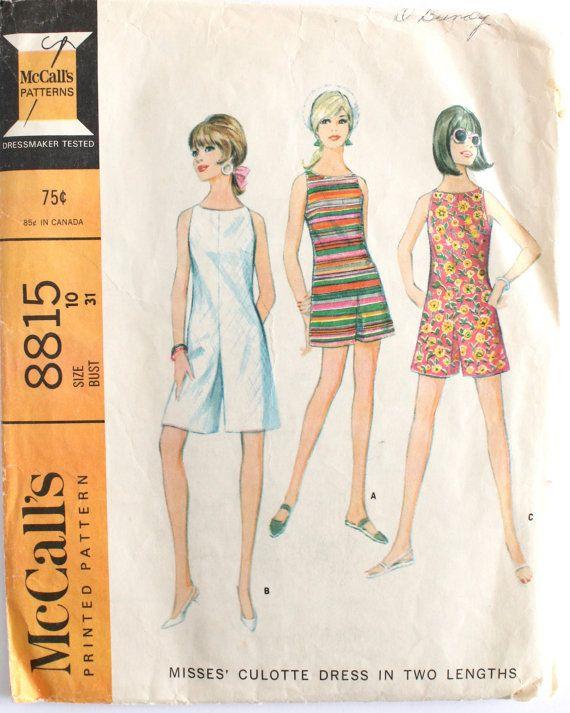 Romper Pattern- Vintage 1960\'s Women\'s Romper/Culotte Dress Sewing ...