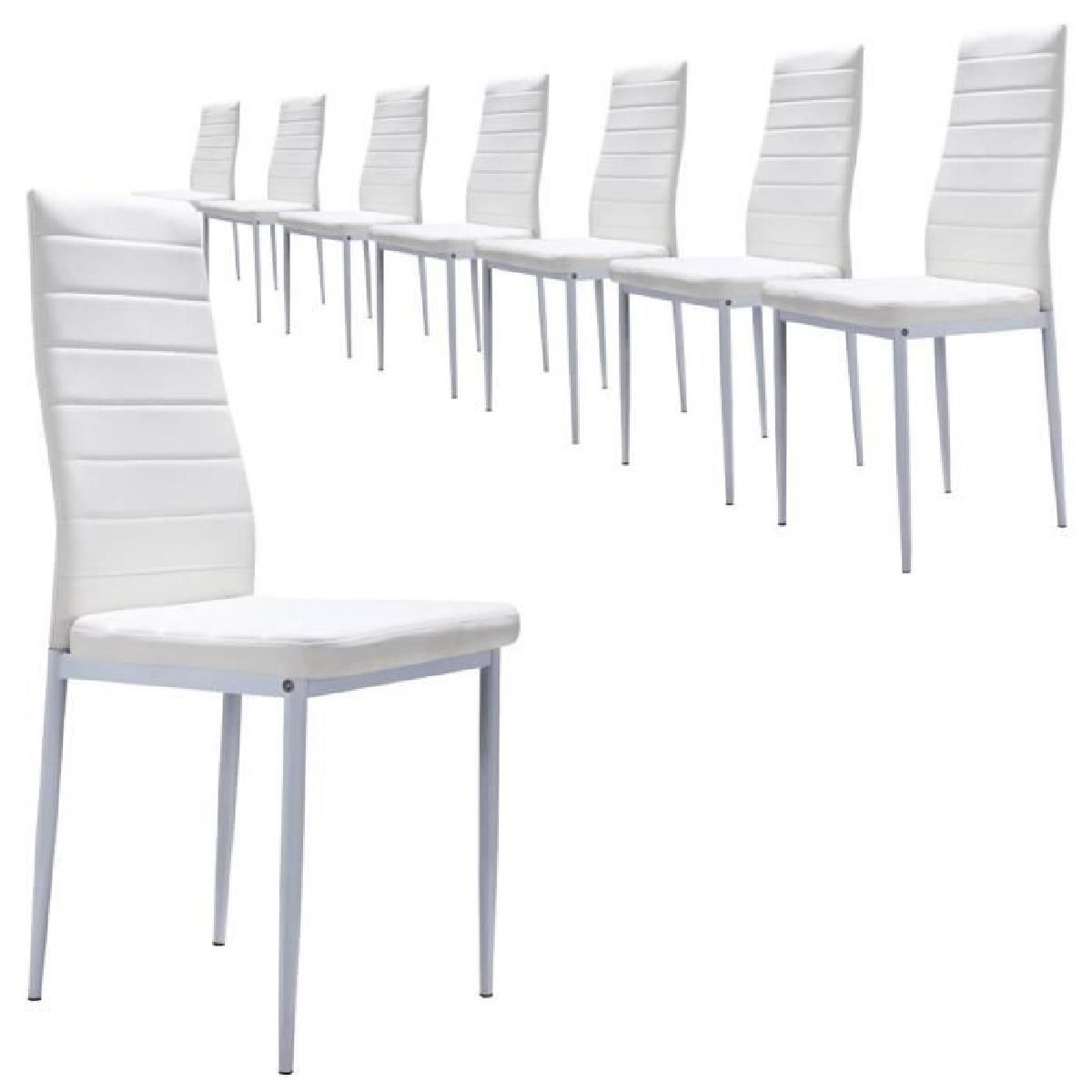 S2 Blanc Lot De 8 Chaises Design Et Ultra Confort Simili Cuir Chaise Design Mobilier De Salon Lot De Chaises