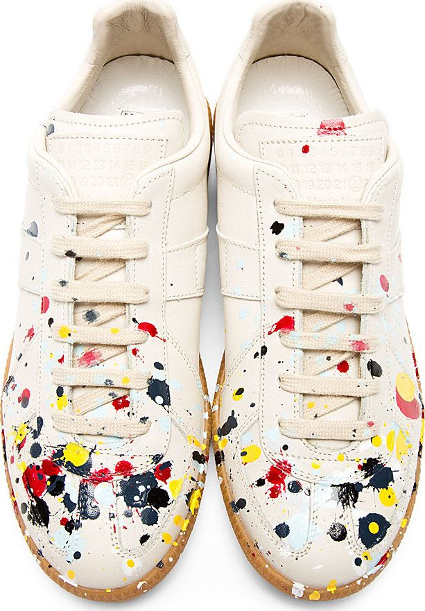 7c002ee786d Maison Martin Margiela Cream Painted Jackson Pollock Sneakers ...