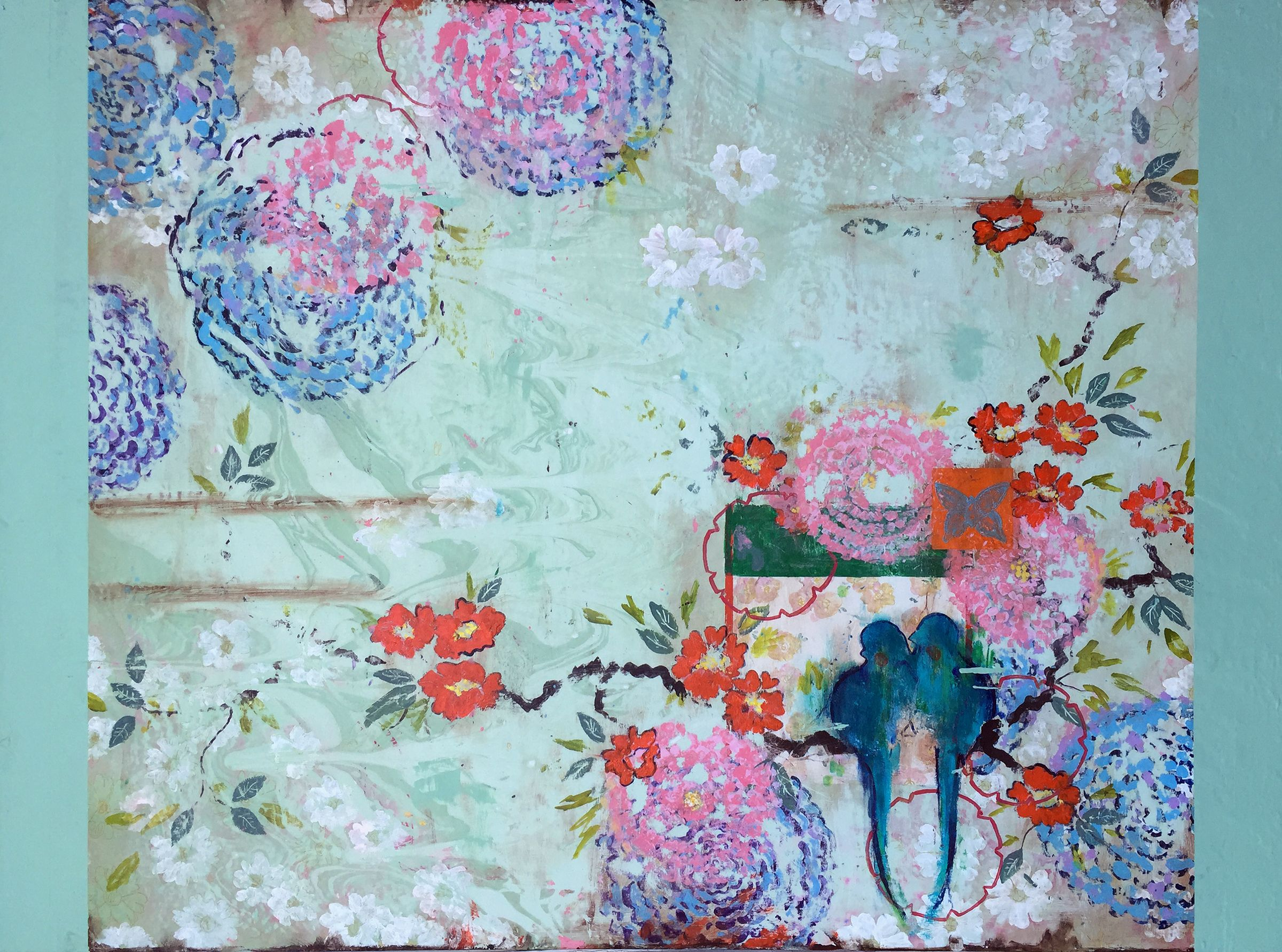 """Kathe Fraga Art, """"Garden Morning"""", inspired by the romance of vintage French wallpapers and Chinoiserie with a modern twist. 36x48 on frescoed panel. ..."""