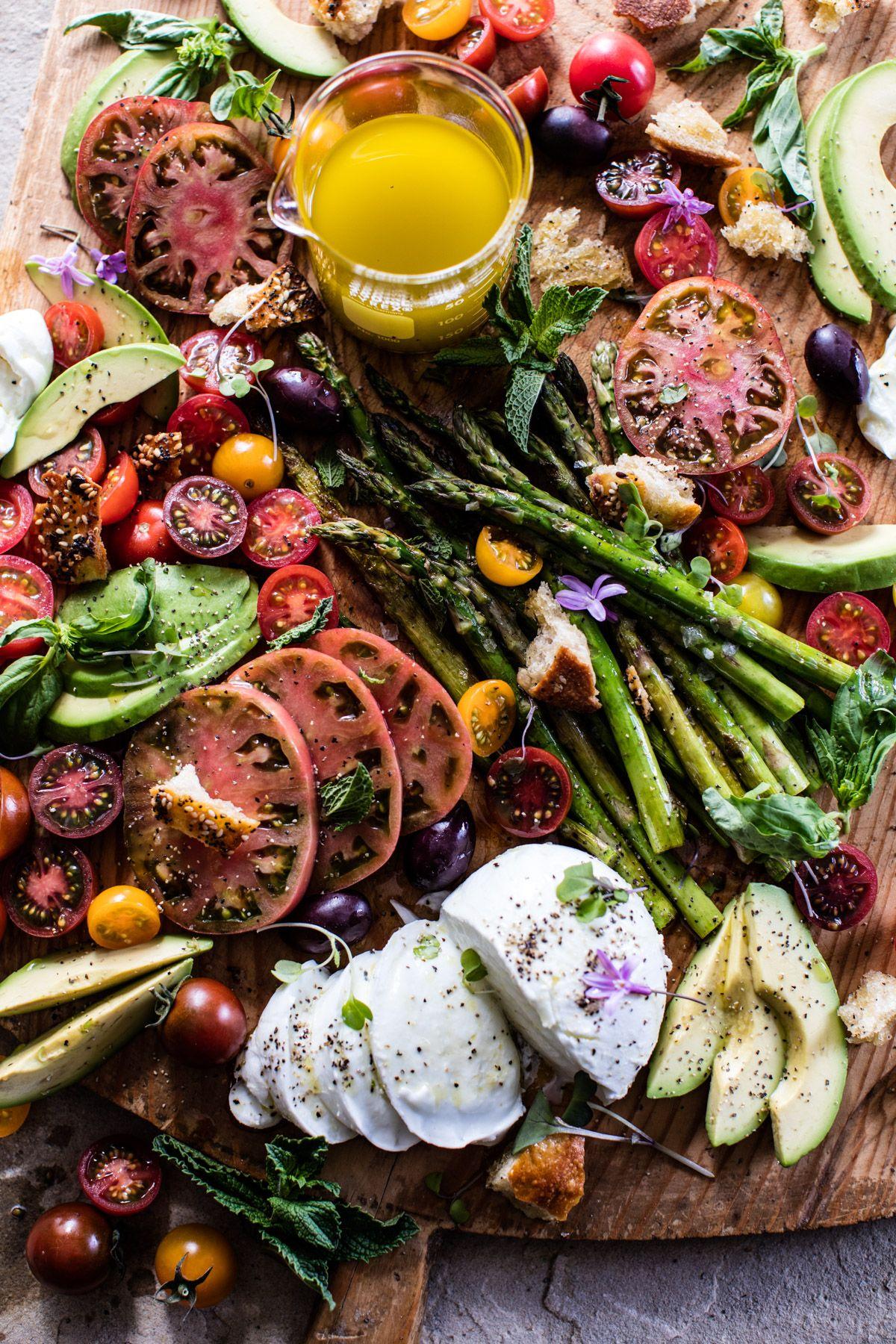 Panzanella Style Caprese Asparagus Salad. - Half Baked Harvest