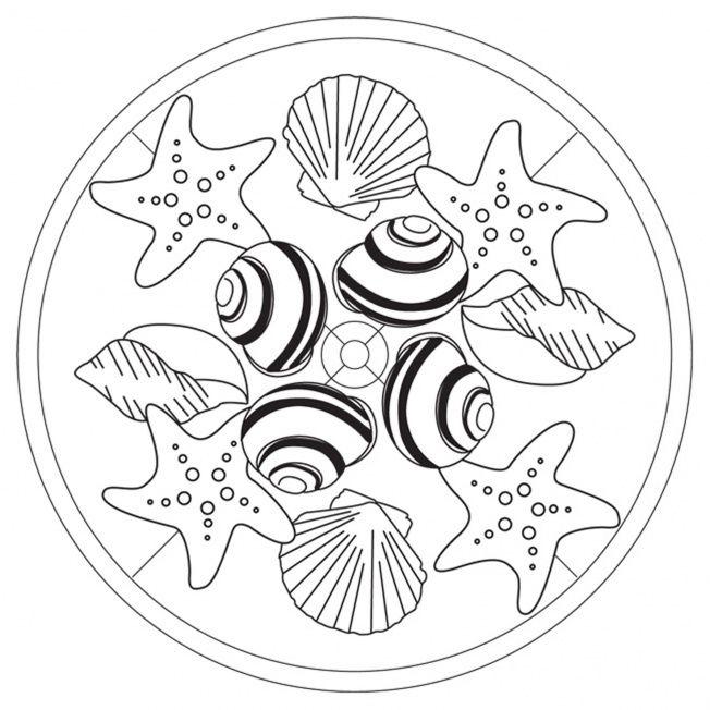 muschelmandala in 2020  mandala ausmalen ausmalen mandalas