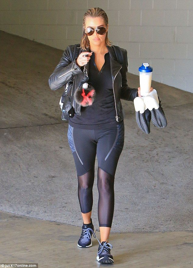 5bf0615061628 Curvaceous: The 31-year-old reality star showed off her legs in a pair of  three-quarter length Adidas athletic leggings for the outing