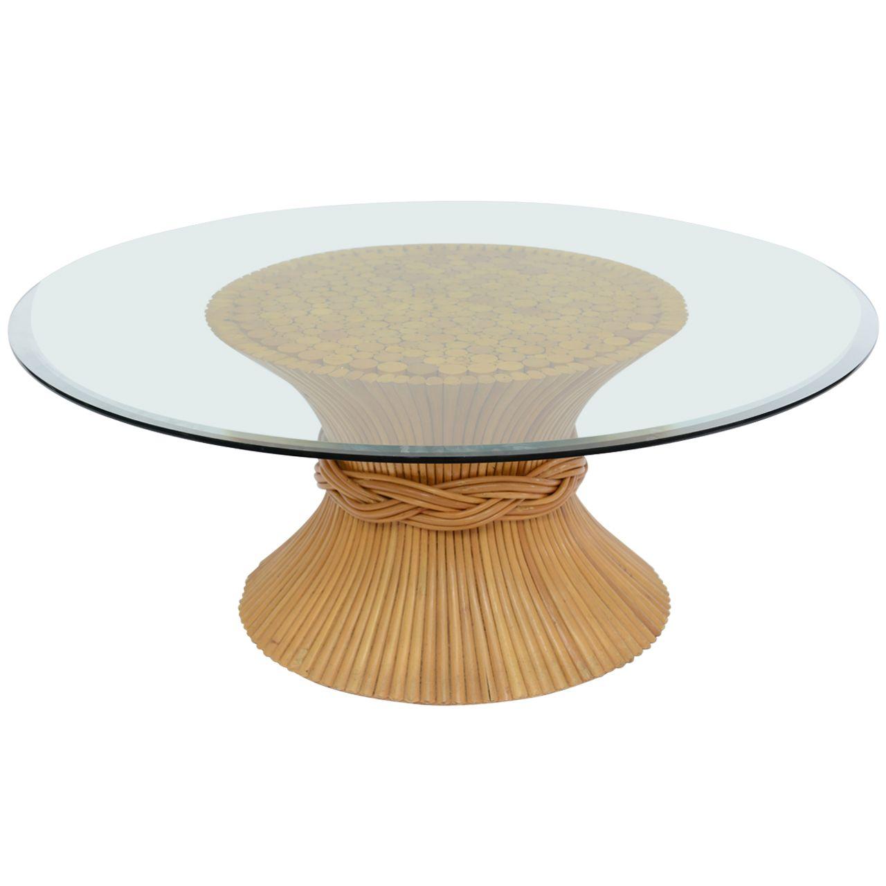 1stdibs.com | Vintage McGuire Sheaf Of Wheat Rattan Coffee Table