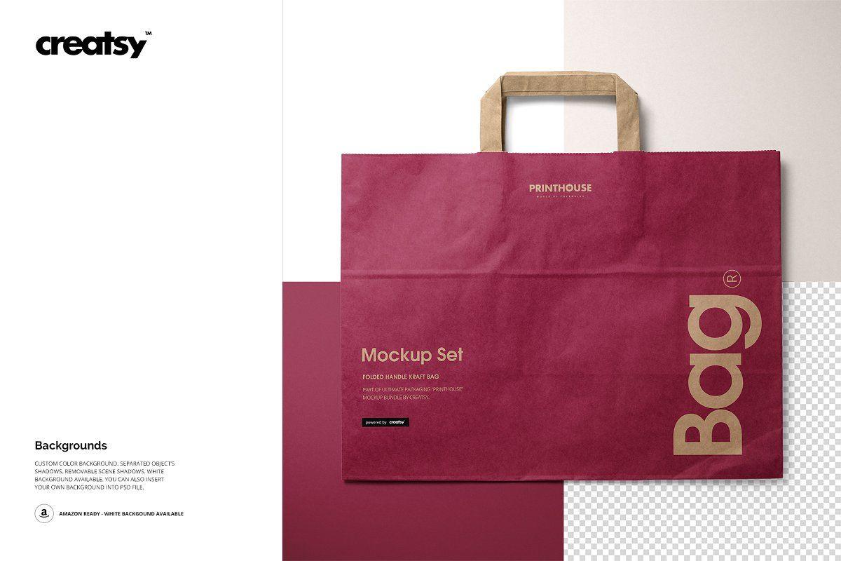 Download Folded Handle Kraft Paper Bag Mockup Bag Mockup Kraft Paper Paper Bag