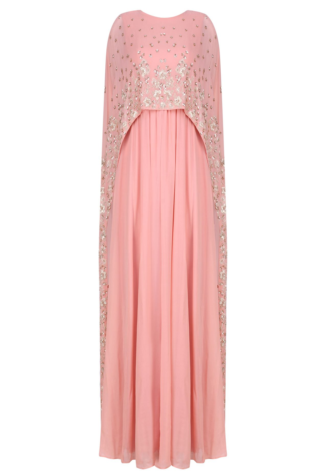 Peach floral embroidered cape gown available only at Pernia\'s Pop Up ...
