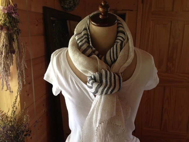 Hand-Woven Lithuania Linen & Ramie Shawl/Scarf - pinned by pin4etsy.com