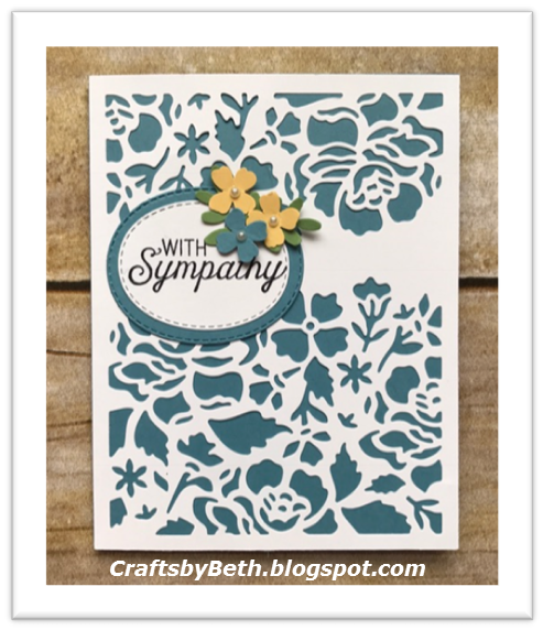 "Stampin' Up! Products Marina Mist cardstock Card base measures 8 1/2"" x 5 1/2"" (scored at 4 1/4"") Scrap for die cut and flower So..."
