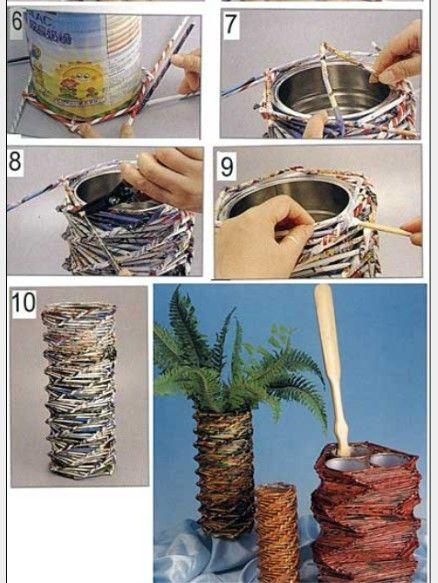 Como hacer manualidades con papel peri dico trenzado - Manualidades con papel periodico ...
