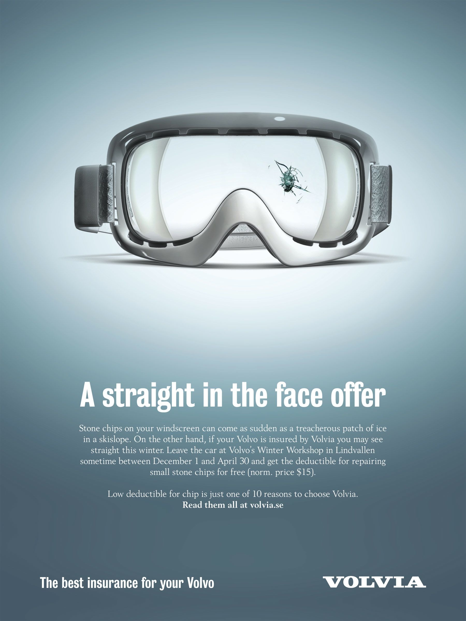 Volvia Car Insurance Goggles Print Advertising Ads Creative Advertising