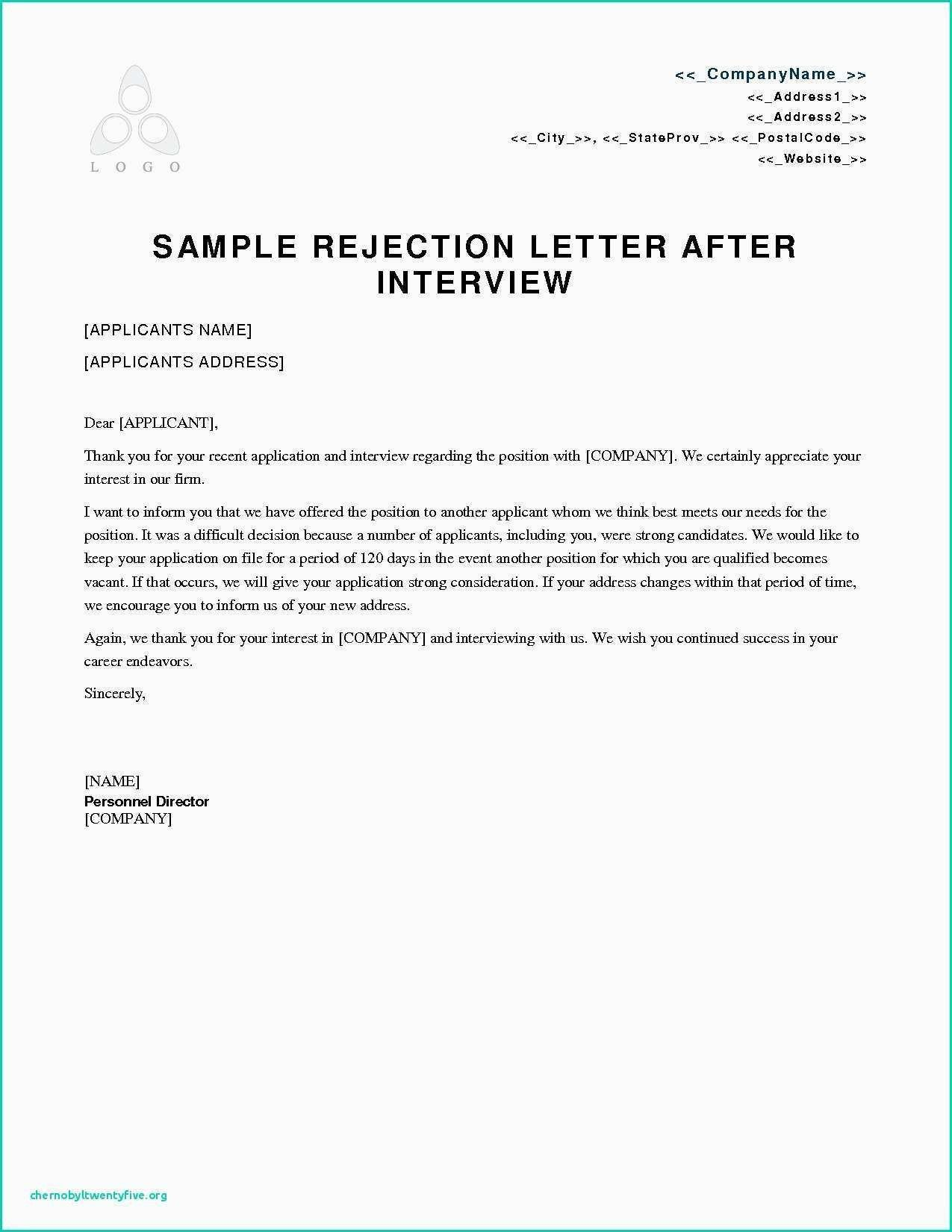 Download Unique Rejection Letter To Job Applicant Lettersample