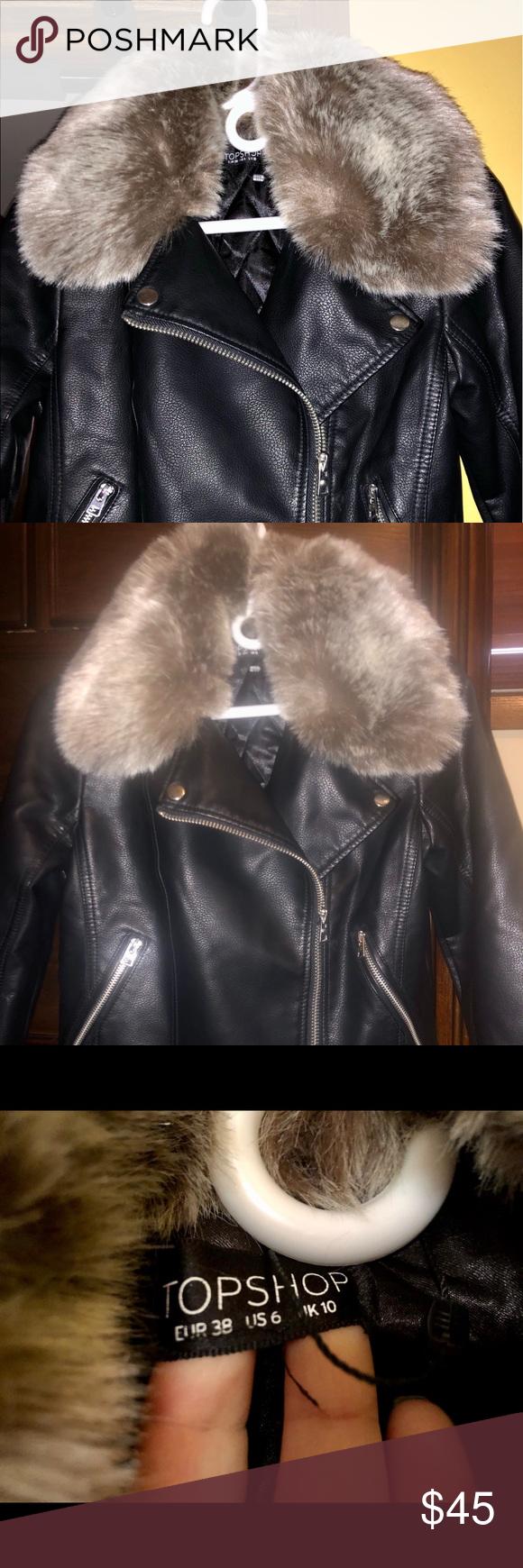 Moto Jacket with Fur Collar Fur collars