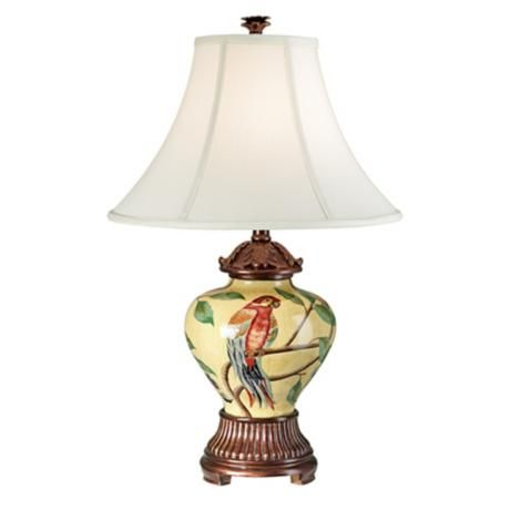 Hand Painted Parrot Ceramic Ginger Jar Table Lamp Table