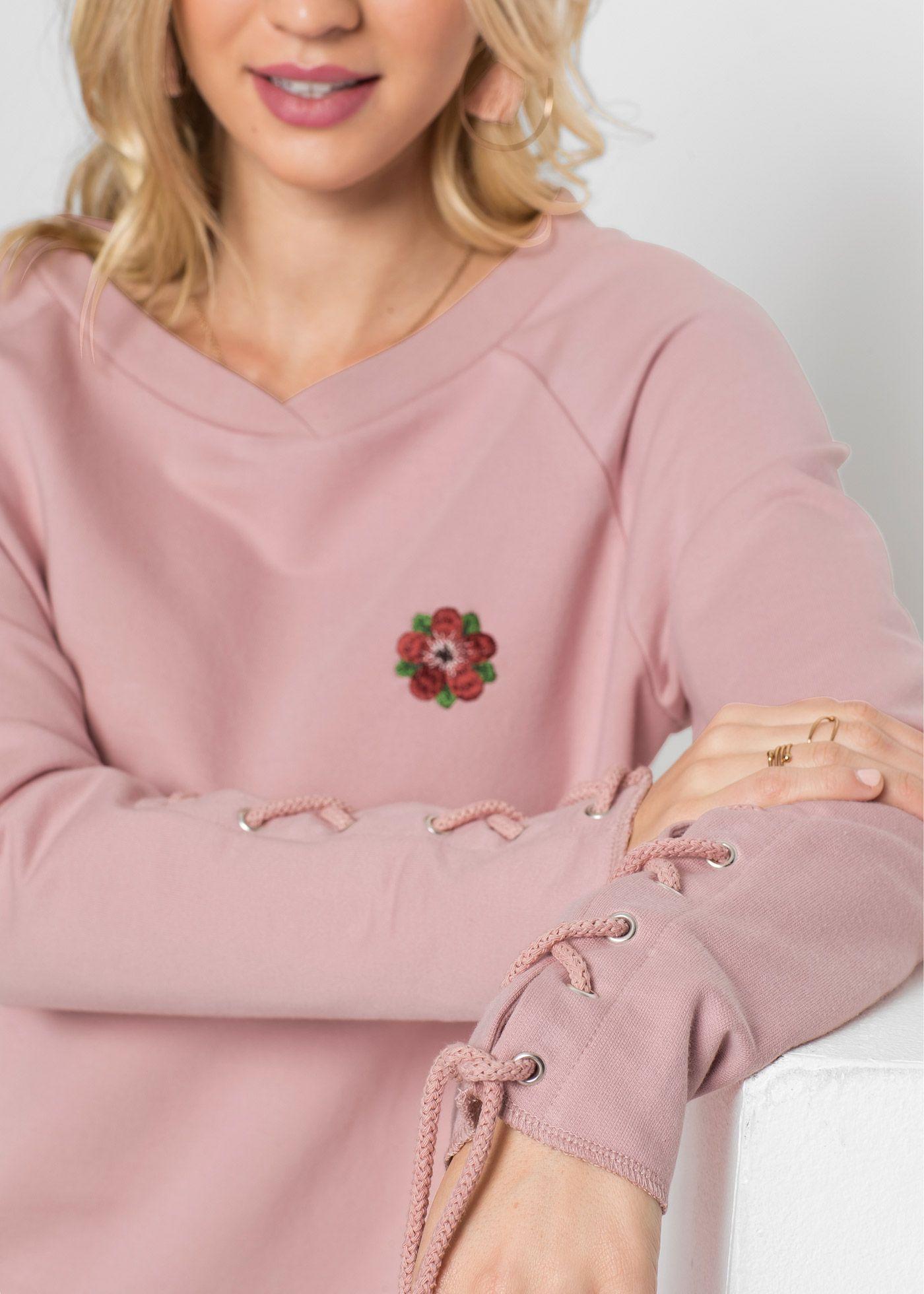 Sweatshirt Mit Schnurung Trendige Outfits Rundhalsausschnitt Und Blumen Stickerei