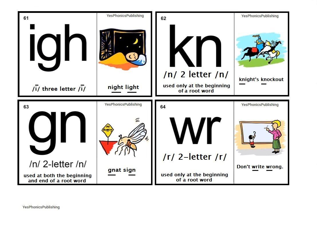 Orton Spalding Phonograms Illustrated Flash Cards Igh Kn Gn Wr Phonograms Phonics Kindergarten Phonics Words [ 856 x 1108 Pixel ]