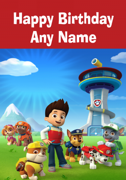 This is a graphic of Intrepid Paw Patrol Printable Birthday Card