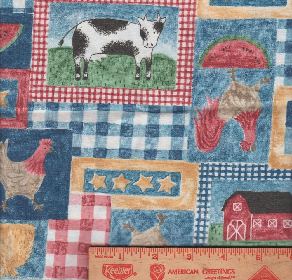 Folk Art Cow Chicken Rooster Sunflower plaid checks Fabric scrap applique