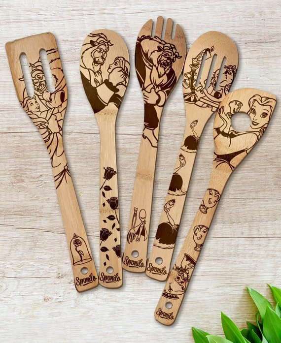 6c861d6b18b29 Beauty and the Beast Wood-burned Spoons Set | Products | Spoon ...