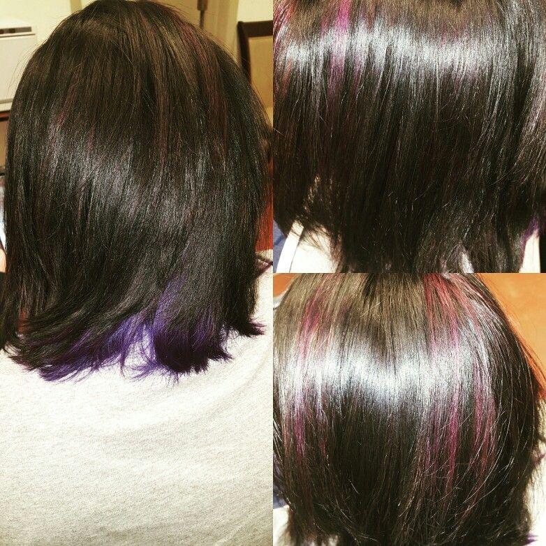 Purple Undershadow Dark Brown And Purple Highlights