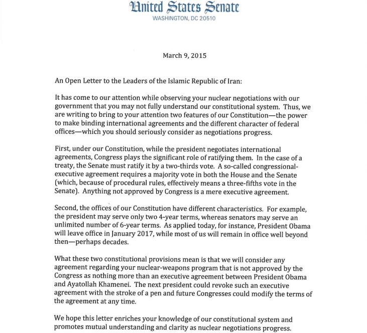 Senator Letter   Gop Senators Open Letter To Iran