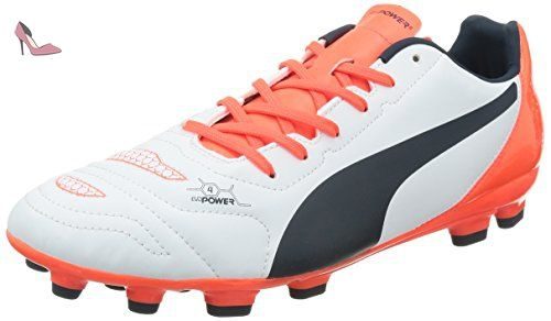 Puma Evopower 4.2 AG, Chaussures de Football Homme, Blanc (White/Total Eclipse/Lava Blast), 44.5