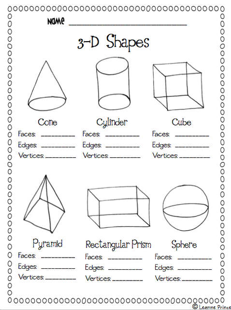 3-D Shapes facts worksheet | Teaching Math | Math, 3d shapes, Worksheets