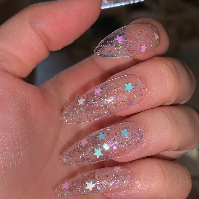 Starstruck Iridescent Glitter Clear Press On Nails Fake Etsy In 2020 Clear Glitter Nails Fake Nails Classy Nails