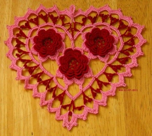 3 Multi-layer Garnet Red Roses inside an #Irish #Crochet #Lace #Heart done in Wild Rose and Garnet Red .... all done in Fine Crochet Threads!!  -- A Small #Romantic Trinket! -- Nice for #Valentine's #Day or #Weddings or #Anniversaries - or Gift - or use as a Jewelry Pendant for a Necklace or Choker - or Applique! -- French Country Style Lace - Shabby Chic Lace in Color - Bohemian!!  #Handmade Irish Crochet by @rssdesignsfiber - RSS Designs In Fiber